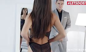 Russian Liya Silver teases her steward by making her pussy depilation in front of him and obligates him to clean getting her pussy licked. Horny Russian fucked!