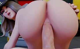 White grayed hair chick takes a huge dick in the cunt as she watches  back with awe holding her ass spread hat on and lips open  for action!