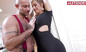 The sexy blonde Mia Linz drives the muscled Mike Angelo crazy, shaking her giant round ass in front of him and begging for a hardcore anal fuck