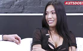 An Asian slut in her limit video has hard rough sex with a big cock inside her hairy pussy. She gets anal and deep throat in BDSM video as man explores fetish