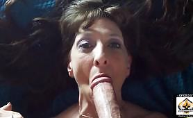 A sexy granny gets fucked in doggy style, and she also does a lot of blowjobs as she sucks the big cock and takes the cum in her mouth.