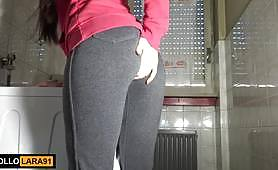 Amateur homemade Italian toilet fuck with a provocative red lipstick wishing a rough fuck on the top of the washing machine.