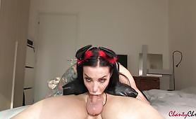 Amazing ChantyChrys is the devil's girlfriend as she struggles to deep throat his big cock. She sucks is so hard her throat is all covered in hot cum