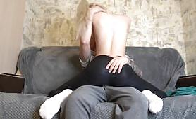 Petite blonde bitch is fucked by a big white dick; this blonde bitch is always fucking with strangers she met on her street, today she fucks her another guy.