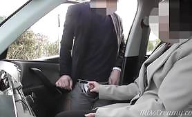 Amateur public car censured slow handjob to a stranger with a sloppy, unprofessional blowjob until he reaches the orgasm by a naughty brunette.