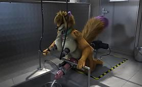 A fox gets fucked from behind in the ass by a big sex toy while squirting and milking with a boob milking machine in a hentai porn video.