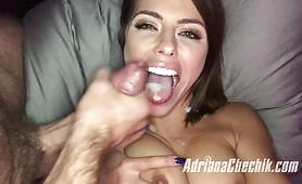 Adriana Chechik features one of her loyal fans on this week's episode of her videos. She then tells him to jerk off while she talks dirty.