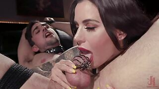 The brunette slutty and dominating porn star Gia DiMarco is a rough fucking porn star making a caged slave fulfill her every fetish.